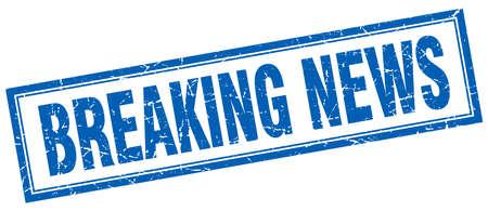 breaking news: breaking news blue square grunge stamp on white Illustration