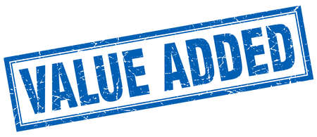 add: value added blue square grunge stamp on white