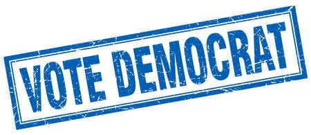 democrat: vote democrat blue square grunge stamp on white