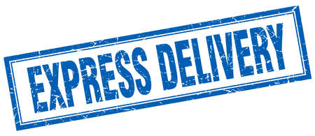 express delivery: express delivery blue square grunge stamp on white
