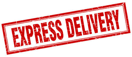 express delivery: express delivery red square grunge stamp on white