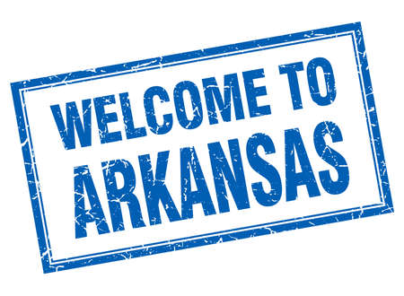 arkansas: Arkansas blue square grunge welcome isolated stamp