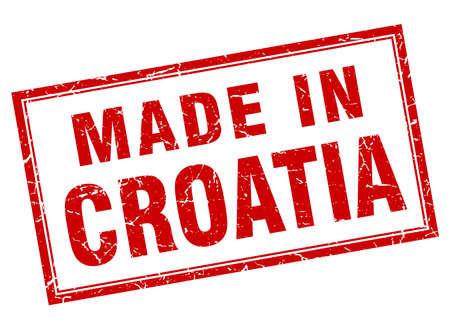 em: Croatia red square grunge made in stamp