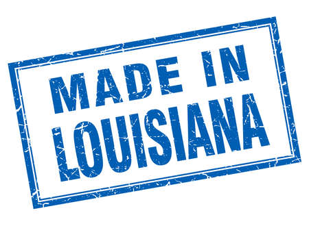 louisiana: Louisiana blue square grunge made in stamp