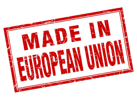 evropský: european union red square grunge made in stamp