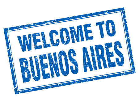 aires: Buenos Aires blue square grunge welcome isolated stamp