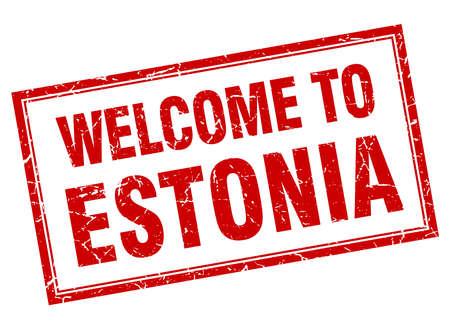 estonia: Estonia red square grunge welcome isolated stamp