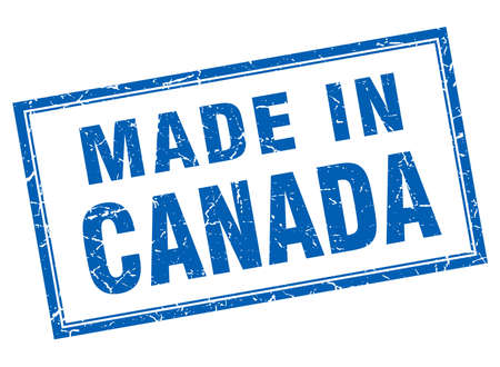 canada stamp: Canada blue square grunge made in stamp Illustration