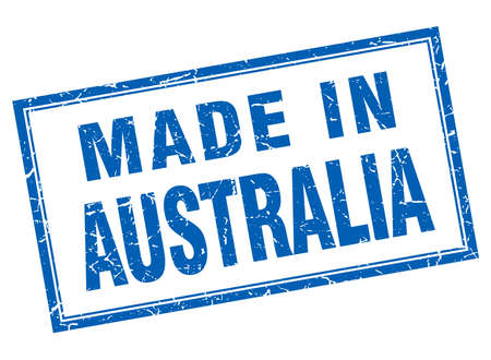 australia stamp: Australia blue square grunge made in stamp