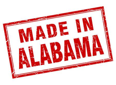 Alabama: Alabama red square grunge made in stamp
