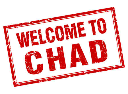 chad: Chad red square grunge welcome isolated stamp