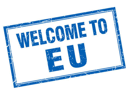 eu: eu blue square grunge welcome isolated stamp Illustration
