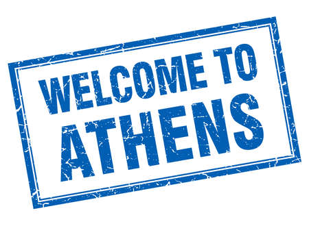 athens: Athens blue square grunge welcome isolated stamp