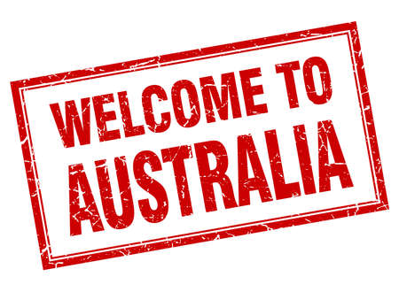 australia stamp: Australia red square grunge welcome isolated stamp