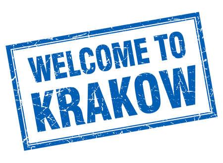 krakow: Krakow blue square grunge welcome isolated stamp Illustration