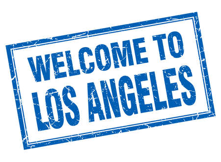 los angeles: Los Angeles blue square grunge welcome isolated stamp Illustration