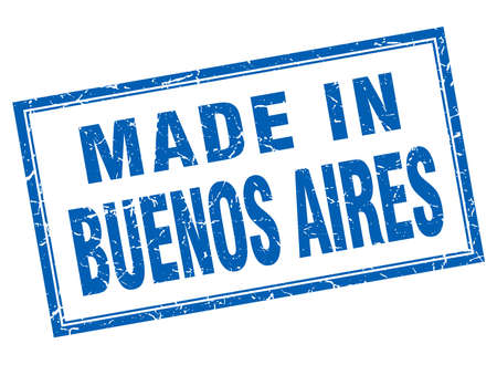 aires: Buenos Aires blue square grunge made in stamp
