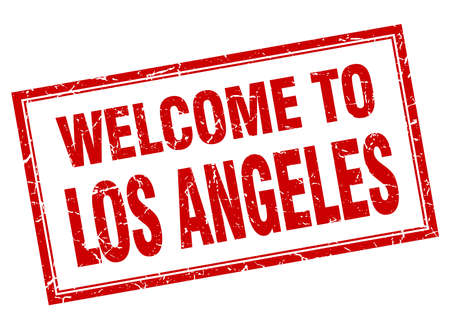 los: Los Angeles red square grunge welcome isolated stamp