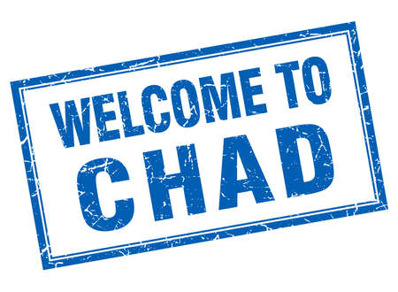 chad: Chad blue square grunge welcome isolated stamp Illustration