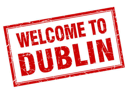 dublin: Dublin red square grunge welcome isolated stamp Illustration
