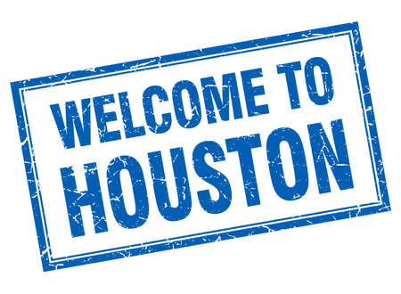 houston: Houston blue square grunge welcome isolated stamp