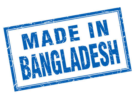 bangladesh: Bangladesh blue square grunge made in stamp Illustration