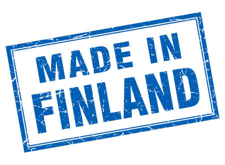 made in finland: Finland blue square grunge made in stamp