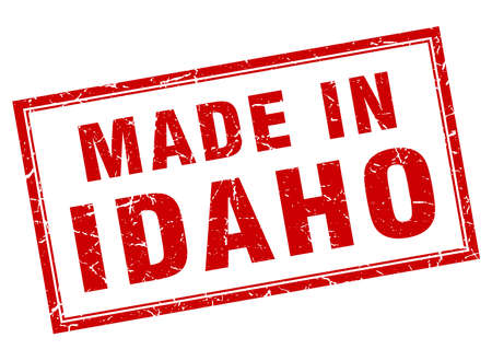 idaho: Idaho red square grunge made in stamp