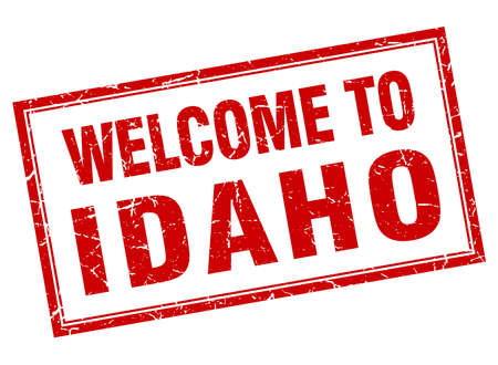 idaho: Idaho red square grunge welcome isolated stamp Illustration