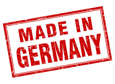 made in germany: Germany red square grunge made in stamp