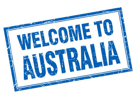 australia stamp: Australia blue square grunge welcome isolated stamp Vectores