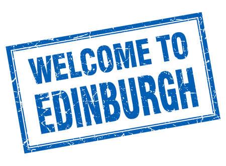 edinburgh: Edinburgh blue square grunge welcome isolated stamp Illustration