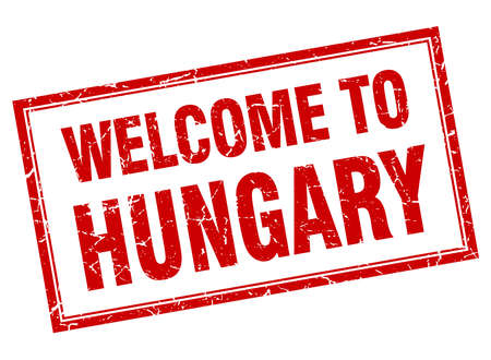 hungary: Hungary red square grunge welcome isolated stamp Illustration