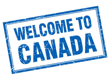 canada stamp: Canada blue square grunge welcome isolated stamp Illustration
