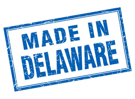 made in: Delaware blue square grunge made in stamp