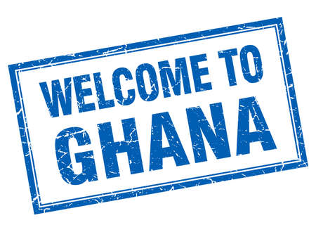 ghana: Ghana blue square grunge welcome isolated stamp Illustration