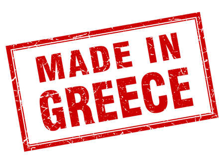 Greece red square grunge made in stamp
