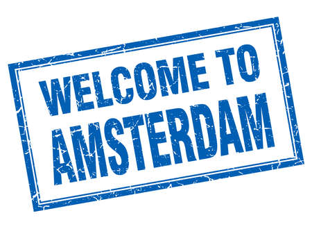 amsterdam: Amsterdam blue square grunge welcome isolated stamp