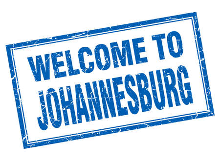 johannesburg: Johannesburg blue square grunge welcome isolated stamp