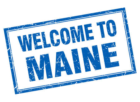maine: Maine blue square grunge welcome isolated stamp