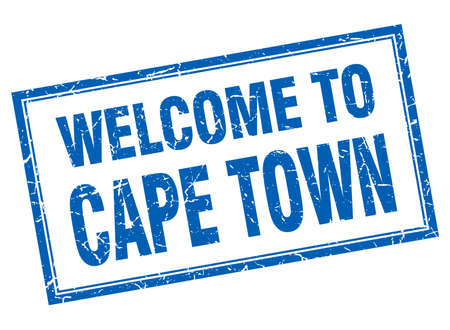 cape town: Cape Town blue square grunge welcome isolated stamp