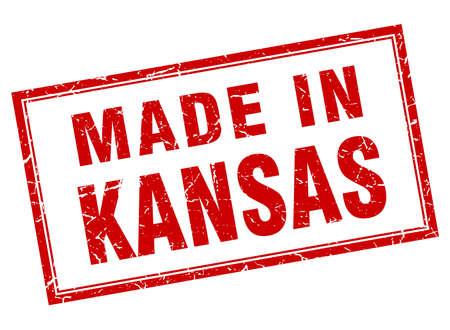 em: Kansas red square grunge made in stamp