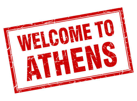 athens: Athens red square grunge welcome isolated stamp