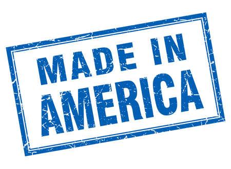 America: America blue square grunge made in stamp Illustration