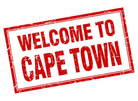 cape town: Cape Town red square grunge welcome isolated stamp