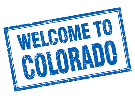 colorado: Colorado blue square grunge welcome isolated stamp Illustration