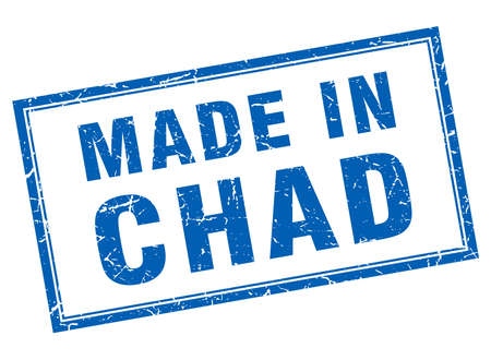 tchad: Chad blue square grunge made in stamp