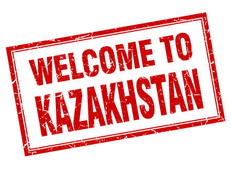 kazakhstan: Kazakhstan red square grunge welcome isolated stamp Illustration