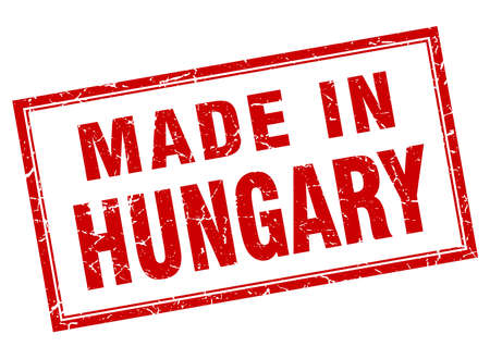 hungary: Hungary red square grunge made in stamp