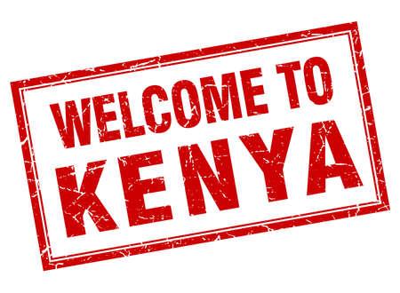 kenya: Kenya red square grunge welcome isolated stamp